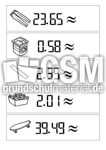 Runde auf volle Euro - Runden - Arbeitsblätter - Mathe Klasse 3 ...
