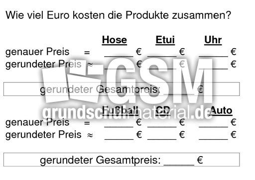Arbeitsblatt Runden Grundschule : Runde auf volle euro runden arbeitsblätter mathe