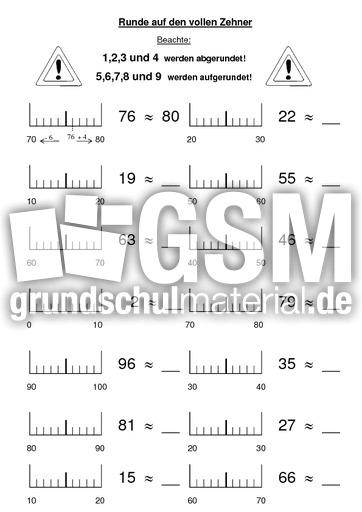 Arbeitsblatt Runden Grundschule : Runden auf volle zehner arbeitsblätter mathe