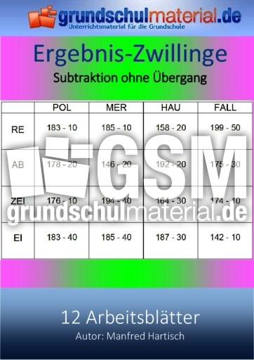Subtraktion_o_Ü_ - Subtraktion - Arbeitsblätter - Mathe Klasse 3 ...