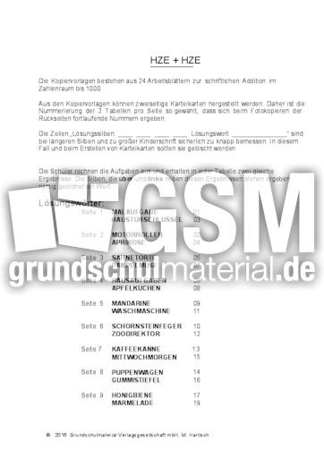 HZE+HZE_Spiegel - schriftliche Addition - Arbeitsblätter - Mathe ...