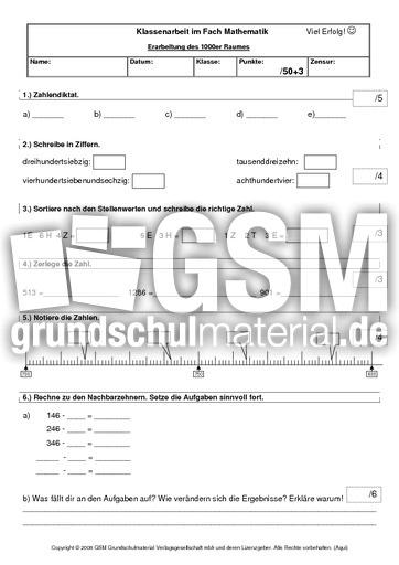 arbeitsblatt vorschule 187 klassenarbeiten mathe klasse 4