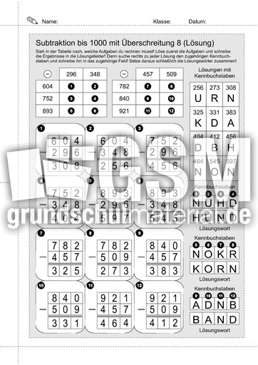 24 Subtraktion - 1000 mit u00dc 08 - schriftliche Addition - Subtraktion - Arbeitsblu00e4tter - Mathe ...