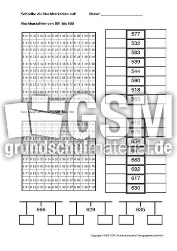 Nachbarzahlen-4 - Arbeitsblätter - Erweiterung des Zahlenraums ...