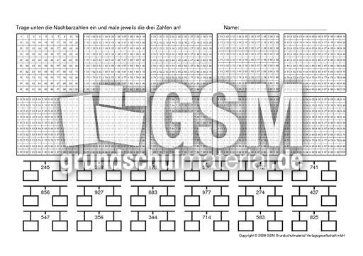 nachbarzahlen 7 arbeitsbl tter erweiterung des zahlenraums mathe klasse 3. Black Bedroom Furniture Sets. Home Design Ideas