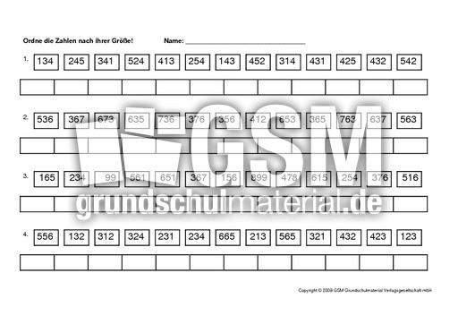 Zahlen-ordnen - Arbeitsblätter - Erweiterung des Zahlenraums - Mathe ...