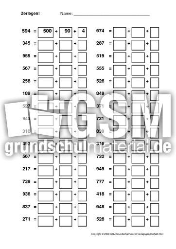 Zerlegen - Arbeitsblätter - Erweiterung des Zahlenraums - Mathe ...