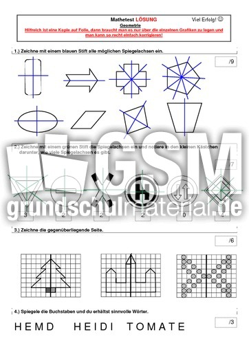 test mit l246sung figuren vergr246223ern geometrie mathe