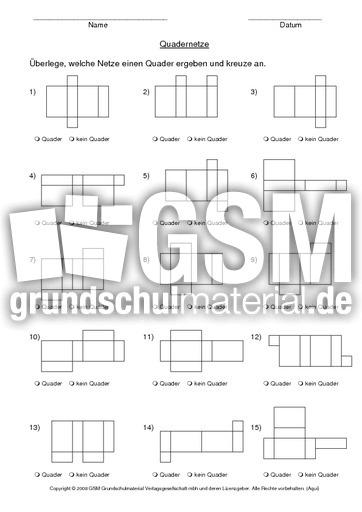 Quadernetze - Flu00e4chen und Netze - Geometrie - Mathe Klasse 3 - Grundschulmaterial.de