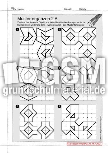 drehsymmetrsiche muster erg nzen 3 1 drehsymmetrie gitterbilder geometrie mathe klasse 3. Black Bedroom Furniture Sets. Home Design Ideas