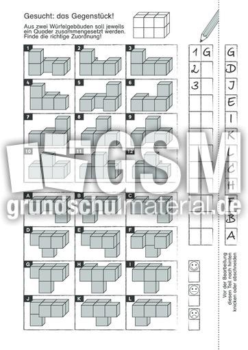 wuerfelquader 2 d w rfelgeometrie geometrie mathe klasse 3. Black Bedroom Furniture Sets. Home Design Ideas