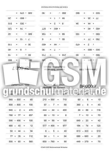ZR1000-plus-minus-mal-geteilt - ZR bis 1.000 - Kopfrechnen mit Faltkarten - Kopfrechentraining ...