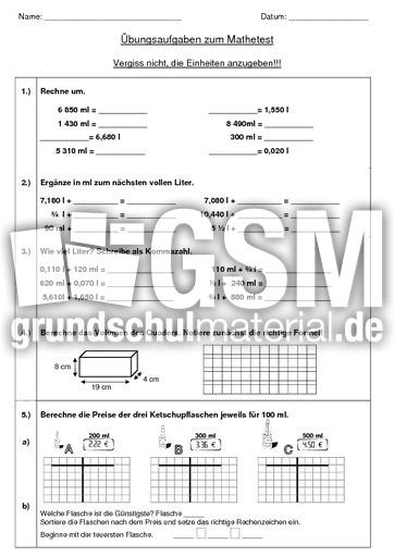 Test Volumen Übungsaufgaben - Volumen - Rechnen mit Größen - Mathe ...
