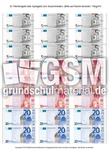 S1 Rechengeld oder Spielgeld zum Ausschneiden ...