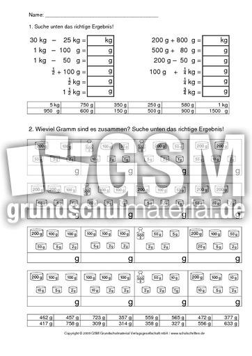 AB-Gewichte-4 - Kilogramm - Gramm - Rechnen mit Gru00f6u00dfen - Mathe Klasse 3 - Grundschulmaterial.de