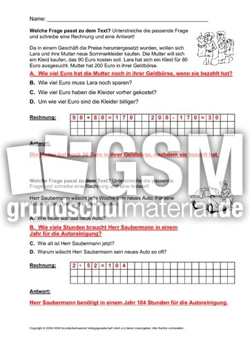Welche-Frage-passt-1-13-Lösung - Arbeitsblätter - Sachaufgaben ...