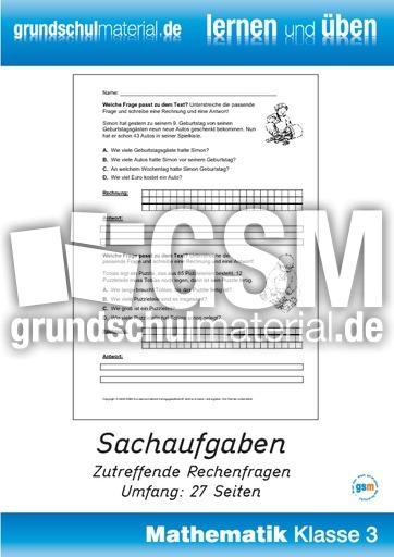 Sachaufgaben Rechenfragen - Sachaufgaben - Kartei - Sachaufgaben - Mathe Klasse 3 ...
