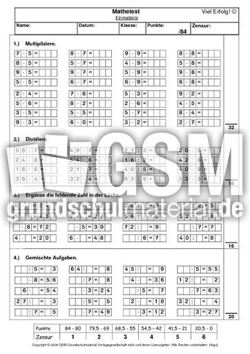 kleines Einmaleins Test - Einmaleins Tests - Lernstandserhebung - Tests - Mathe Klasse 3 ...