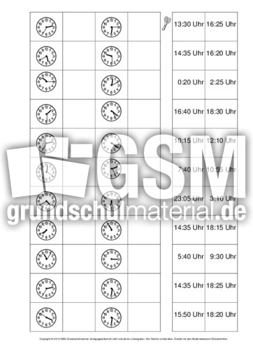 Ab Uhrzeiten Zuordnen 3 Arbeitsblätter Uhrzeiten Mathe Klasse