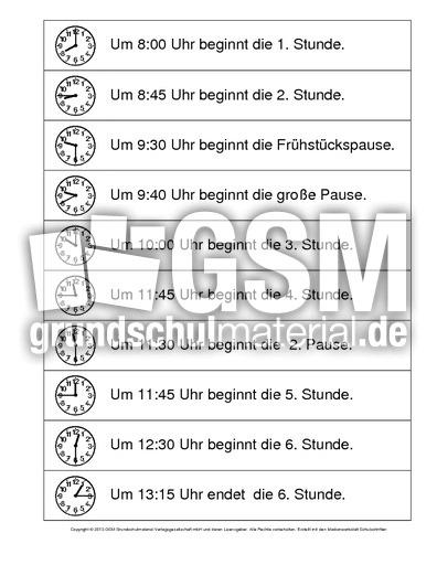 Arbeitsblatt Uhrzeit Klasse : Schultag uhrzeiten arbeitsblätter mathe
