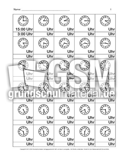 Arbeitsblätter - Uhrzeiten - Mathe Klasse 3 - Grundschulmaterial.de