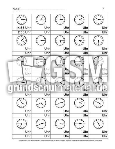 Uhr-Arbeitsblatt-B-1-8 - Arbeitsblätter - Uhrzeiten - Mathe Klasse 3 ...
