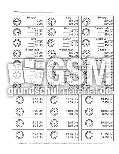Uhr-Arbeitsblatt-Minuten-1-5 - Arbeitsblätter - Uhrzeiten - Mathe ...