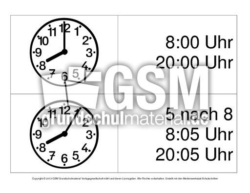 Uhrzeiten Von 8 9 Uhr 1 7 Arbeitsblätter Uhrzeiten Mathe