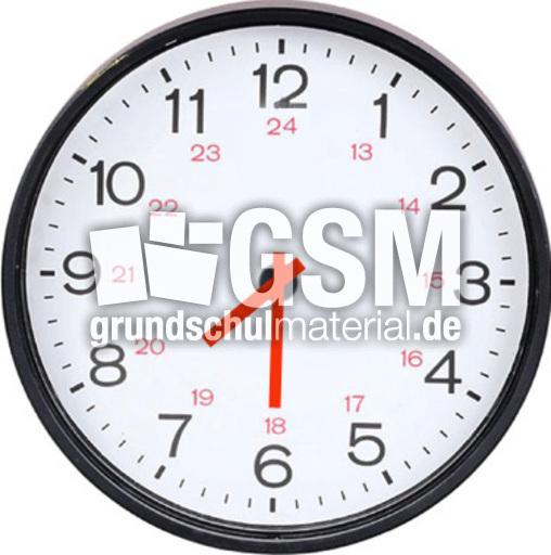 Uhr 07-30 - Uhr-5-Min-Schritte-farbe - Uhren-Bilder - Uhrzeiten - Mathe Klasse 3 ...