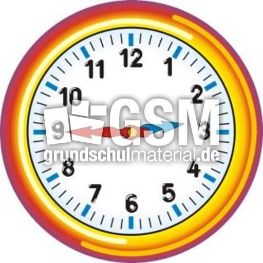 Uhr 02-45 - Uhrzeit farbe - Uhren-Bilder - Uhrzeiten - Mathe Klasse 3 - Grundschulmaterial.de