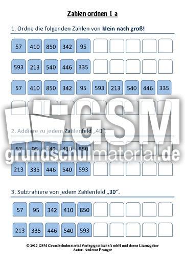 arbeitsblatt zu zahlen ordnen - Orientierung im Tausenderraum - interaktive u00dcbungen - Mathe ...