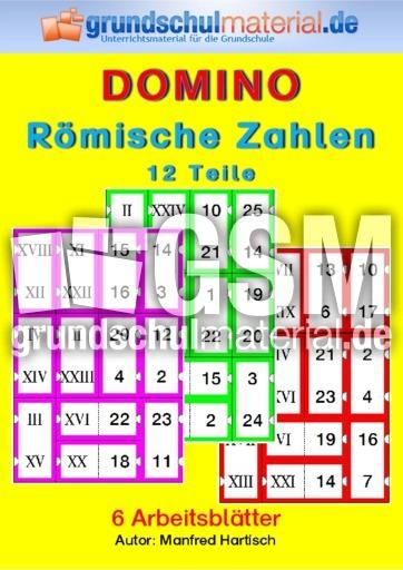 Domino_Römische Zahlen 12 - römische Zahlen - Rechendominos ...
