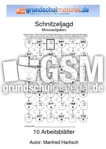 Minusaufgaben - Schnitzeljagd - spielerisch rechnen - Mathe Klasse 3 ...