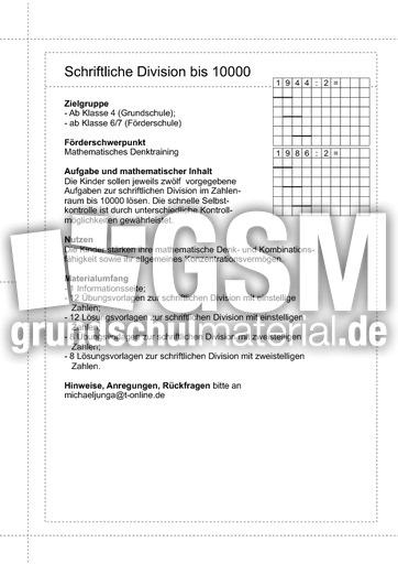 Schriftliche Division bis 10000 - 00 - Schriftliche Division bis ...