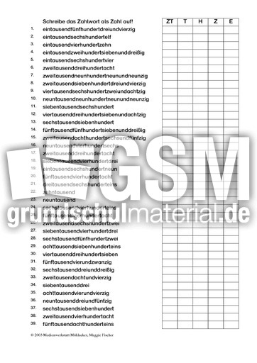grosse Zahlen - Zahlenfolge -10.000 - Erweiterung ZR 10 ...