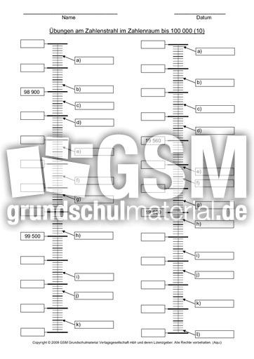 Zahlenstrahlen bis 1 000 000 AB 10 - Zahlenstrahl - Erweiterung ZR 10.000 - Mathe Klasse 4 ...
