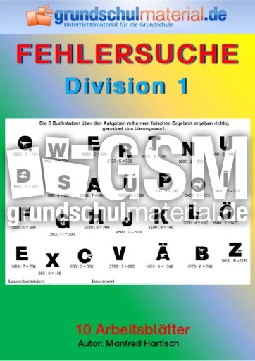 Division 1 Division Fehlersuche Mathe Klasse 4
