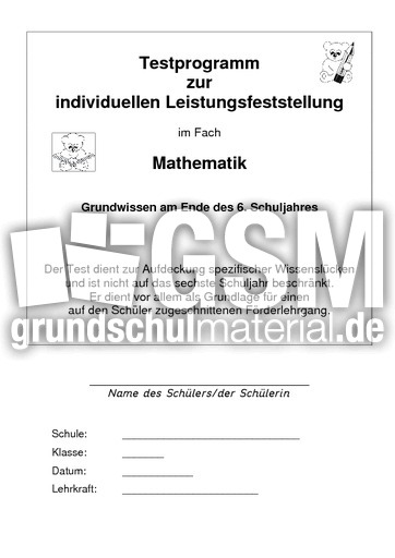 Test Mathe Ende 6. Klasse - standartisierte Tests ...