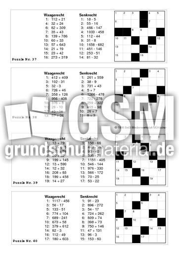 Krz bis-10000 10 - Kreuzwortru00e4tsel - Rechenspiele - Mathe Klasse 4 - Grundschulmaterial.de