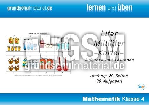 liter und milliliter kartei rechnen mit gr en mathe klasse 4. Black Bedroom Furniture Sets. Home Design Ideas