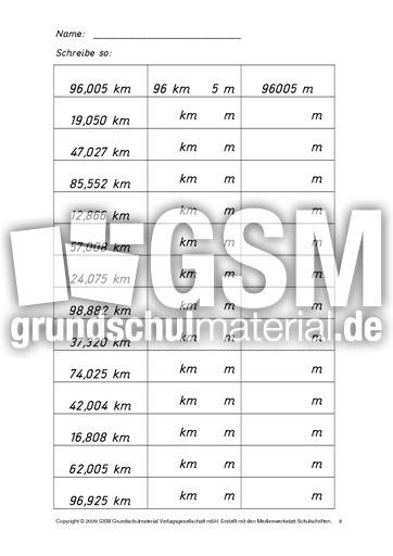 AB-Kilometer-Meter-B 8 - Kilometer-Meter-Zentimeter - Rechnen mit Gru00f6u00dfen - Mathe Klasse 4 ...
