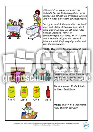 Kartei-Sachaufgaben-Teil 2 - Sachaufgaben - Mathe Klasse 4 ...