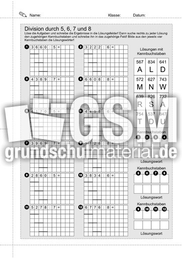 10 Schriftliche Division durch 5-6-7-8 - Schriftliche Division ...
