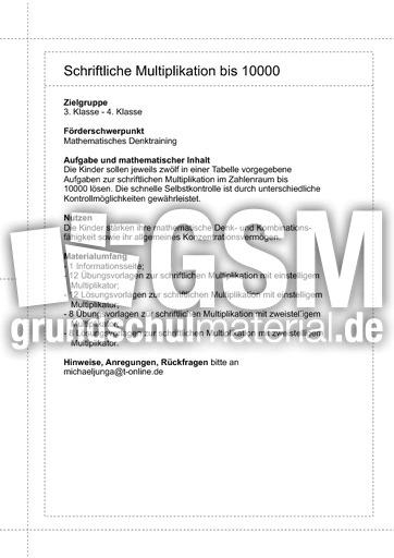 00 Schriftliche Multiplikation bis 10.000 - Schriftliche ...