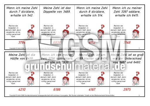 Zahlenru00e4tsel-Setzleiste-1-15 - Zahlenru00e4tsel - Setzleiste - Mathe Klasse 4 - Grundschulmaterial.de
