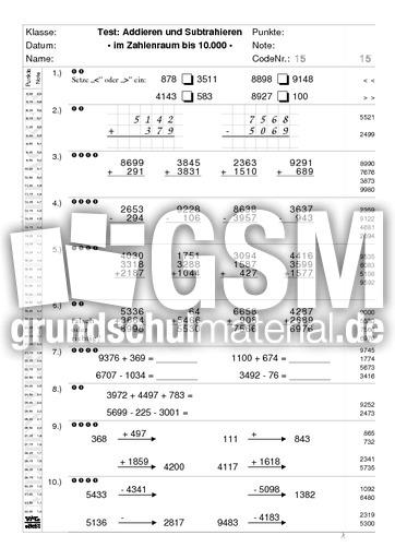 Test-pm10000 - 15 - Test-Ad-Sub 10.000 - Mathe Klasse 4 - Grundschulmaterial.de