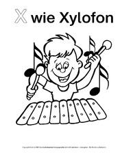 X Wie Xylofon 1 Ausmalbilder Zum Abc Anlaute Deutsch Klasse 1
