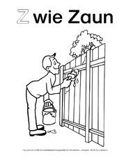 Z Wie Zaun 1 Ausmalbilder Zum Abc Anlaute Deutsch Klasse 1