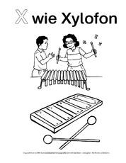 X Wie Xylofon 2 Ausmalbilder Zum Abc Grundschulmaterial Fibel