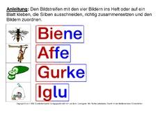 Arbeitsblatt in der Grundschule - erste Wörter in Silben ...